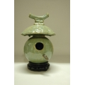 High Fired Birdhouse - Jade Moss