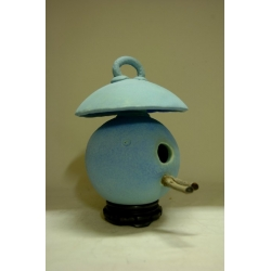 High Fired Birdhouse - Matt Blue