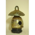 Raku Pit Fired Birdhouse - Chinese Red
