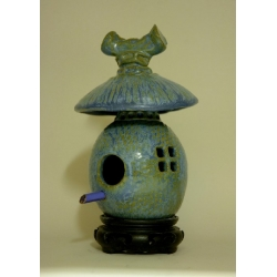High Fired Birdhouse - Variegated Blue